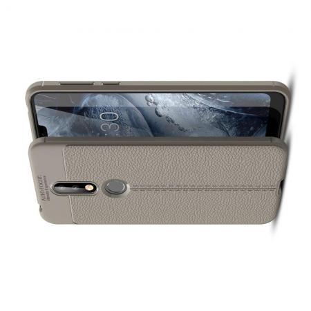 Litchi Grain Leather Силиконовый Накладка Чехол для Nokia 7.1 с Текстурой Кожа Серый