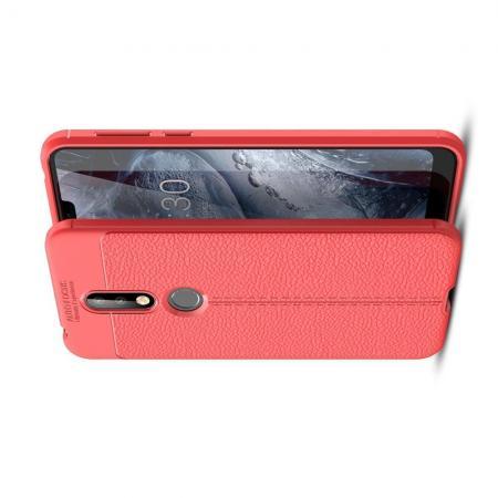 Litchi Grain Leather Силиконовый Накладка Чехол для Nokia 7.1 с Текстурой Кожа Коралловый