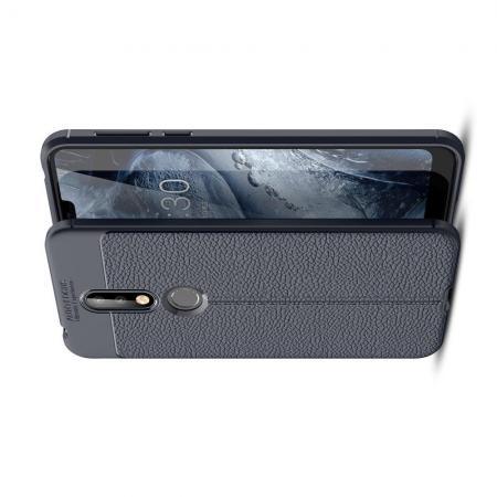 Litchi Grain Leather Силиконовый Накладка Чехол для Nokia 7.1 с Текстурой Кожа Синий