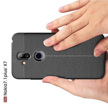 Litchi Grain Leather Силиконовый Накладка Чехол для Nokia 8.1 с Текстурой Кожа Черный