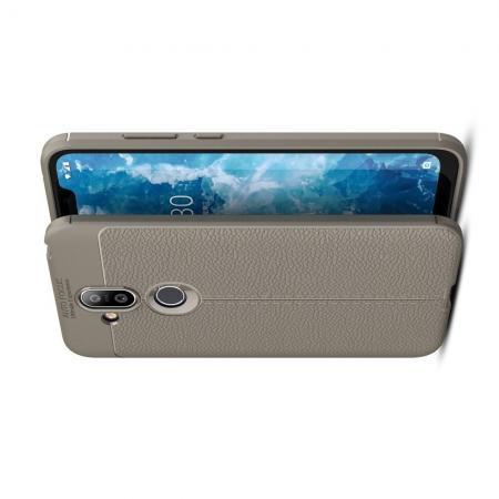Litchi Grain Leather Силиконовый Накладка Чехол для Nokia 8.1 с Текстурой Кожа Серый