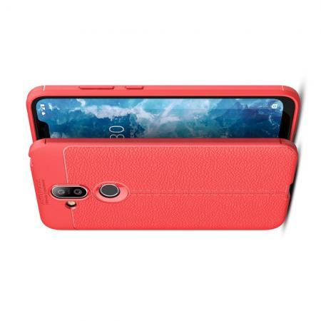 Litchi Grain Leather Силиконовый Накладка Чехол для Nokia 8.1 с Текстурой Кожа Коралловый
