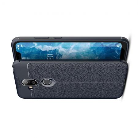 Litchi Grain Leather Силиконовый Накладка Чехол для Nokia 8.1 с Текстурой Кожа Синий
