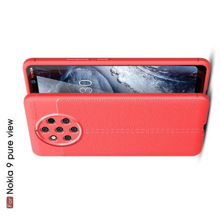 Litchi Grain Leather Силиконовый Накладка Чехол для Nokia 9 PureView с Текстурой Кожа Коралловый
