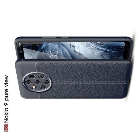 Litchi Grain Leather Силиконовый Накладка Чехол для Nokia 9 PureView с Текстурой Кожа Синий