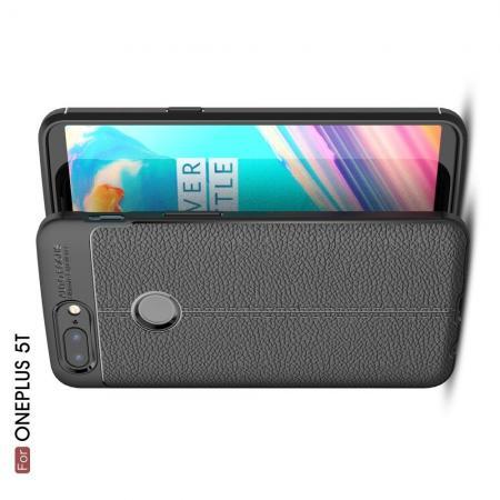Litchi Grain Leather Силиконовый Накладка Чехол для OnePlus 5T с Текстурой Кожа Черный
