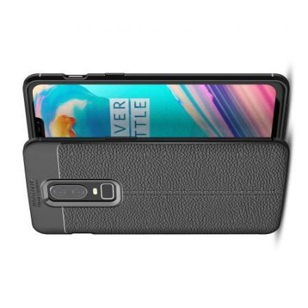 Litchi Grain Leather Силиконовый Накладка Чехол для OnePlus 6 с Текстурой Кожа Черный