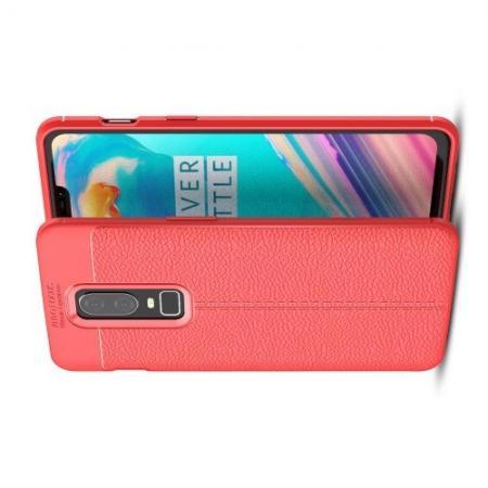 Litchi Grain Leather Силиконовый Накладка Чехол для OnePlus 6 с Текстурой Кожа Коралловый