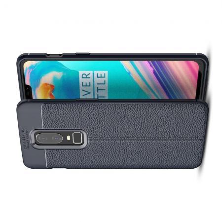 Litchi Grain Leather Силиконовый Накладка Чехол для OnePlus 6 с Текстурой Кожа Синий