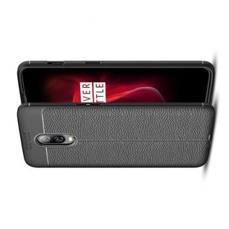 Litchi Grain Leather Силиконовый Накладка Чехол для Oneplus 6T с Текстурой Кожа Черный