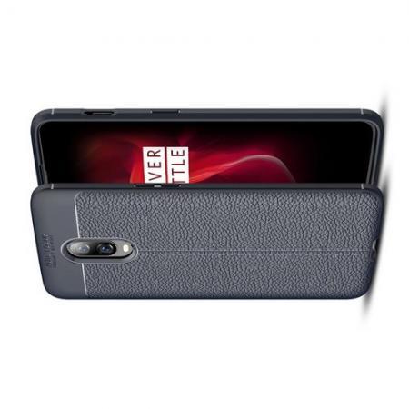 Litchi Grain Leather Силиконовый Накладка Чехол для Oneplus 6T с Текстурой Кожа Синий