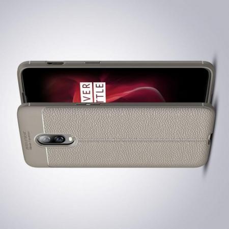Litchi Grain Leather Силиконовый Накладка Чехол для Oneplus 6T с Текстурой Кожа Серый