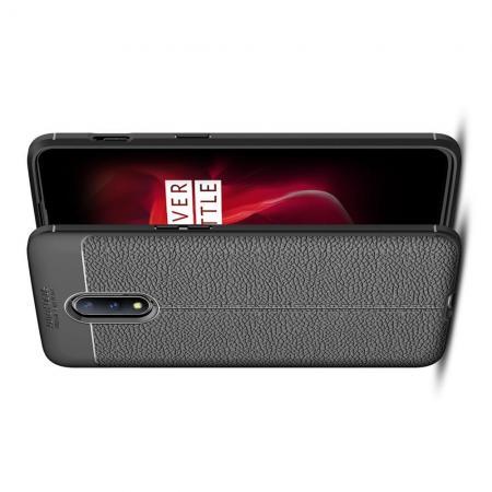 Litchi Grain Leather Силиконовый Накладка Чехол для OnePlus 7 с Текстурой Кожа Черный