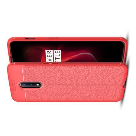 Litchi Grain Leather Силиконовый Накладка Чехол для OnePlus 7 с Текстурой Кожа Коралловый