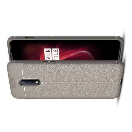 Litchi Grain Leather Силиконовый Накладка Чехол для OnePlus 7 с Текстурой Кожа Серый