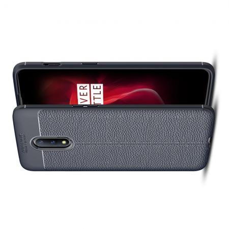 Litchi Grain Leather Силиконовый Накладка Чехол для OnePlus 7 с Текстурой Кожа Синий
