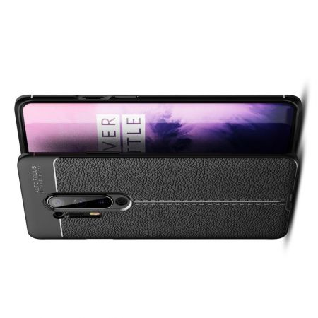 Litchi Grain Leather Силиконовый Накладка Чехол для OnePlus 8 Pro с Текстурой Кожа Черный