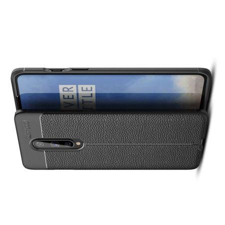 Litchi Grain Leather Силиконовый Накладка Чехол для OnePlus 8 с Текстурой Кожа Черный