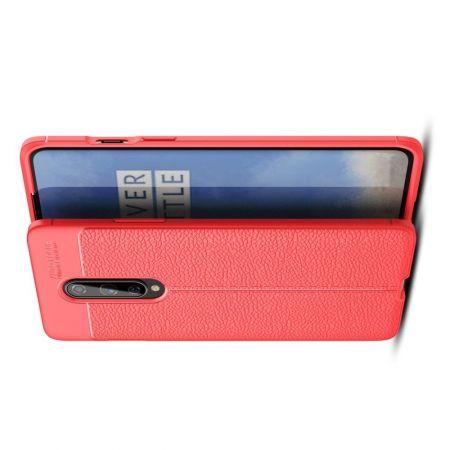 Litchi Grain Leather Силиконовый Накладка Чехол для OnePlus 8 с Текстурой Кожа Красный