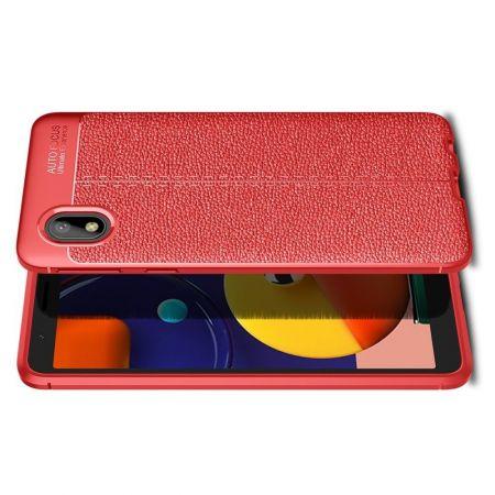 Litchi Grain Leather Силиконовый Накладка Чехол для Samsung Galaxy A01 Core с Текстурой Кожа Красный