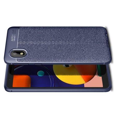 Litchi Grain Leather Силиконовый Накладка Чехол для Samsung Galaxy A01 Core с Текстурой Кожа Синий