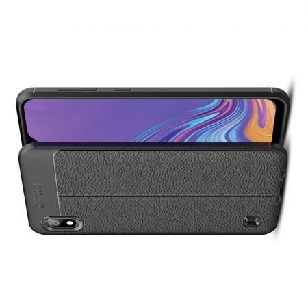 Litchi Grain Leather Силиконовый Накладка Чехол для Samsung Galaxy A10 с Текстурой Кожа Черный