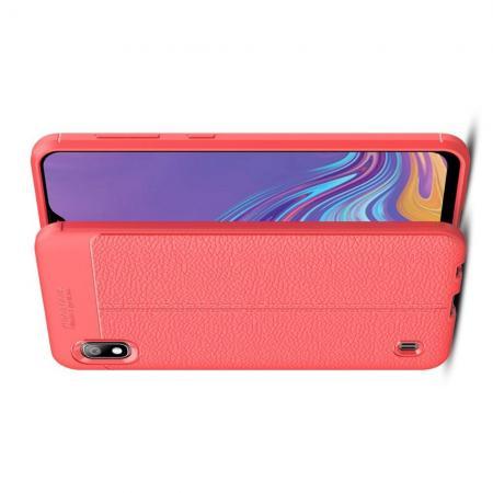 Litchi Grain Leather Силиконовый Накладка Чехол для Samsung Galaxy A10 с Текстурой Кожа Коралловый
