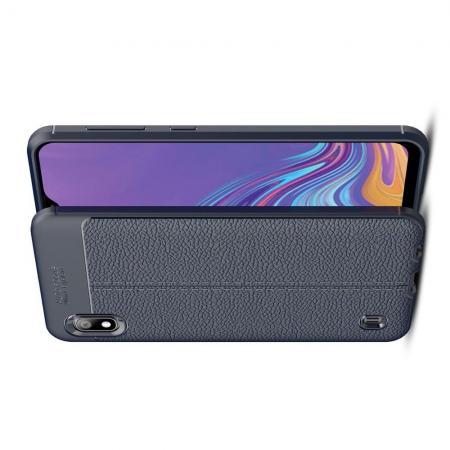 Litchi Grain Leather Силиконовый Накладка Чехол для Samsung Galaxy A10 с Текстурой Кожа Синий