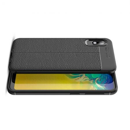 Litchi Grain Leather Силиконовый Накладка Чехол для Samsung Galaxy A10e с Текстурой Кожа Черный