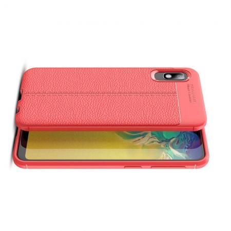 Litchi Grain Leather Силиконовый Накладка Чехол для Samsung Galaxy A10e с Текстурой Кожа Красный