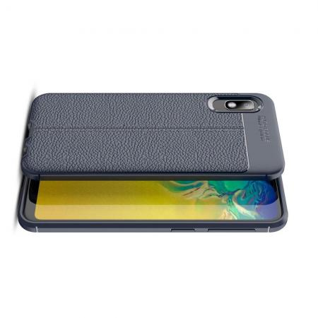 Litchi Grain Leather Силиконовый Накладка Чехол для Samsung Galaxy A10e с Текстурой Кожа Синий