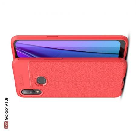 Litchi Grain Leather Силиконовый Накладка Чехол для Samsung Galaxy A10s с Текстурой Кожа Красный