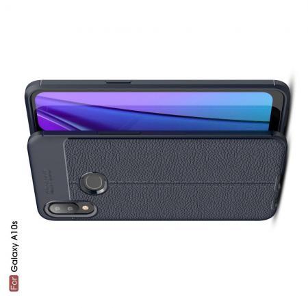 Litchi Grain Leather Силиконовый Накладка Чехол для Samsung Galaxy A10s с Текстурой Кожа Синий