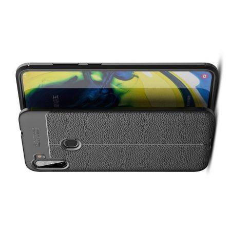 Litchi Grain Leather Силиконовый Накладка Чехол для Samsung Galaxy A11 с Текстурой Кожа Черный