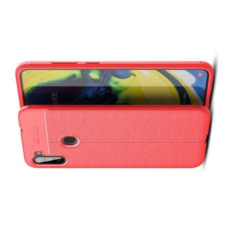 Litchi Grain Leather Силиконовый Накладка Чехол для Samsung Galaxy A11 с Текстурой Кожа Красный