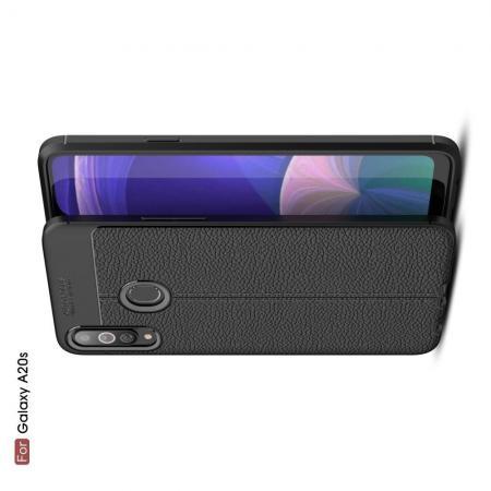 Litchi Grain Leather Силиконовый Накладка Чехол для Samsung Galaxy A20s с Текстурой Кожа Черный