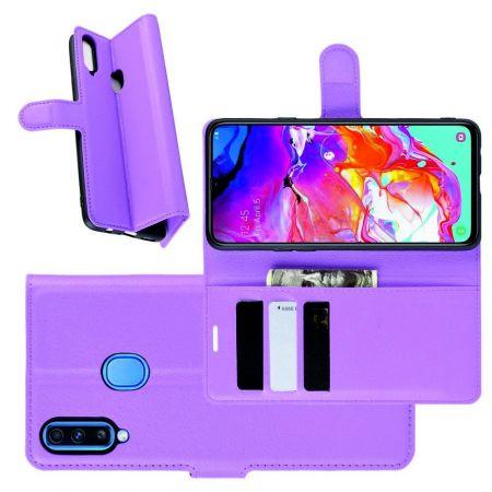 Litchi Grain Leather Силиконовый Накладка Чехол для Samsung Galaxy A20s с Текстурой Кожа Фиолетовый