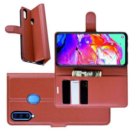Litchi Grain Leather Силиконовый Накладка Чехол для Samsung Galaxy A20s с Текстурой Кожа Коричневый