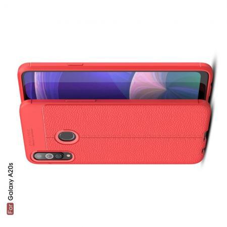 Litchi Grain Leather Силиконовый Накладка Чехол для Samsung Galaxy A20s с Текстурой Кожа Красный
