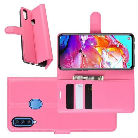 Litchi Grain Leather Силиконовый Накладка Чехол для Samsung Galaxy A20s с Текстурой Кожа Розовый