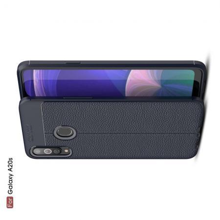 Litchi Grain Leather Силиконовый Накладка Чехол для Samsung Galaxy A20s с Текстурой Кожа Синий