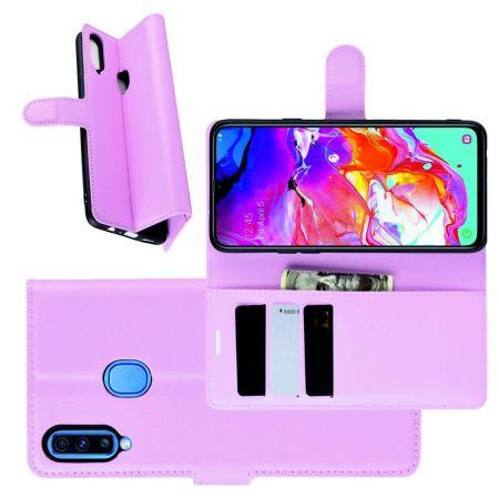 Litchi Grain Leather Силиконовый Накладка Чехол для Samsung Galaxy A20s с Текстурой Кожа Светло Розовый