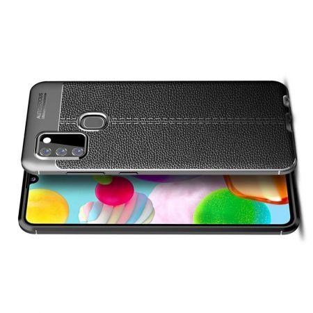 Litchi Grain Leather Силиконовый Накладка Чехол для Samsung Galaxy A21s с Текстурой Кожа Черный