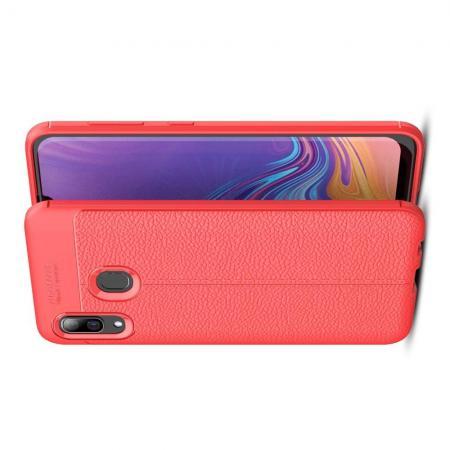 Litchi Grain Leather Силиконовый Накладка Чехол для Samsung Galaxy A30 / A20 с Текстурой Кожа Коралловый