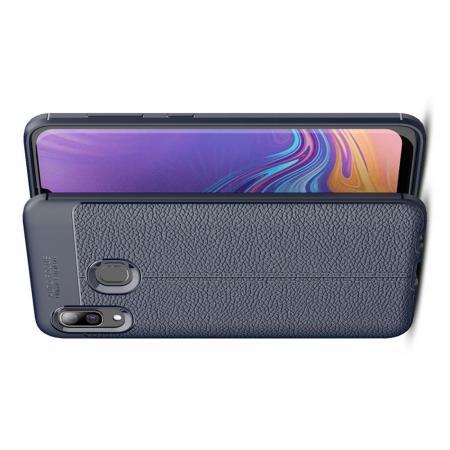 Litchi Grain Leather Силиконовый Накладка Чехол для Samsung Galaxy A30 / A20 с Текстурой Кожа Синий