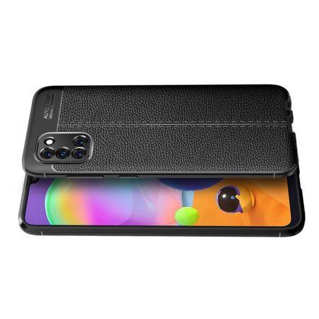 Litchi Grain Leather Силиконовый Накладка Чехол для Samsung Galaxy A31 с Текстурой Кожа Черный