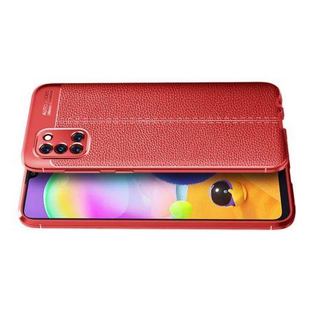 Litchi Grain Leather Силиконовый Накладка Чехол для Samsung Galaxy A31 с Текстурой Кожа Красный