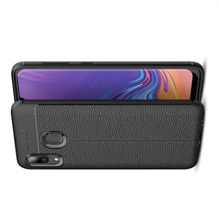 Litchi Grain Leather Силиконовый Накладка Чехол для Samsung Galaxy A40 с Текстурой Кожа Черный