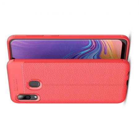 Litchi Grain Leather Силиконовый Накладка Чехол для Samsung Galaxy A40 с Текстурой Кожа Коралловый