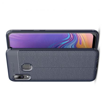 Litchi Grain Leather Силиконовый Накладка Чехол для Samsung Galaxy A40 с Текстурой Кожа Синий